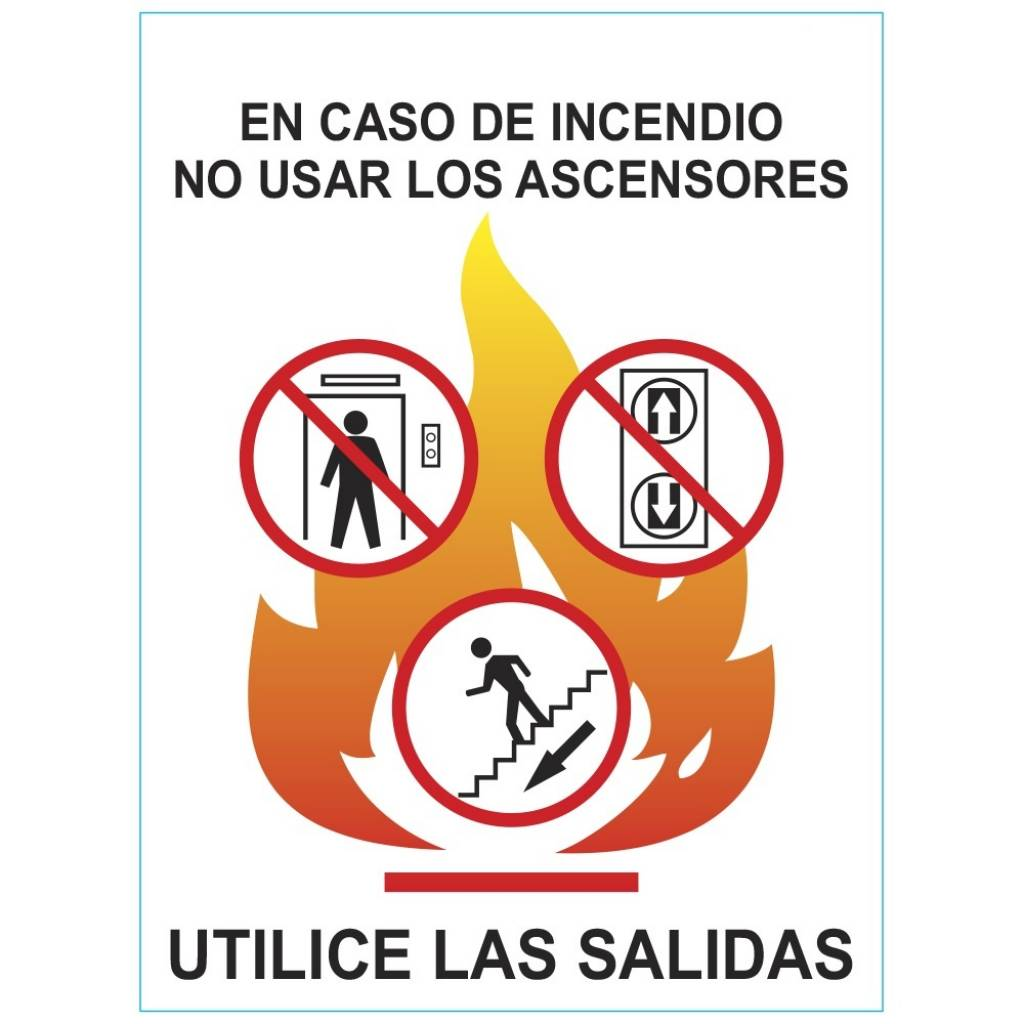 Cartel NO usar Ascensores