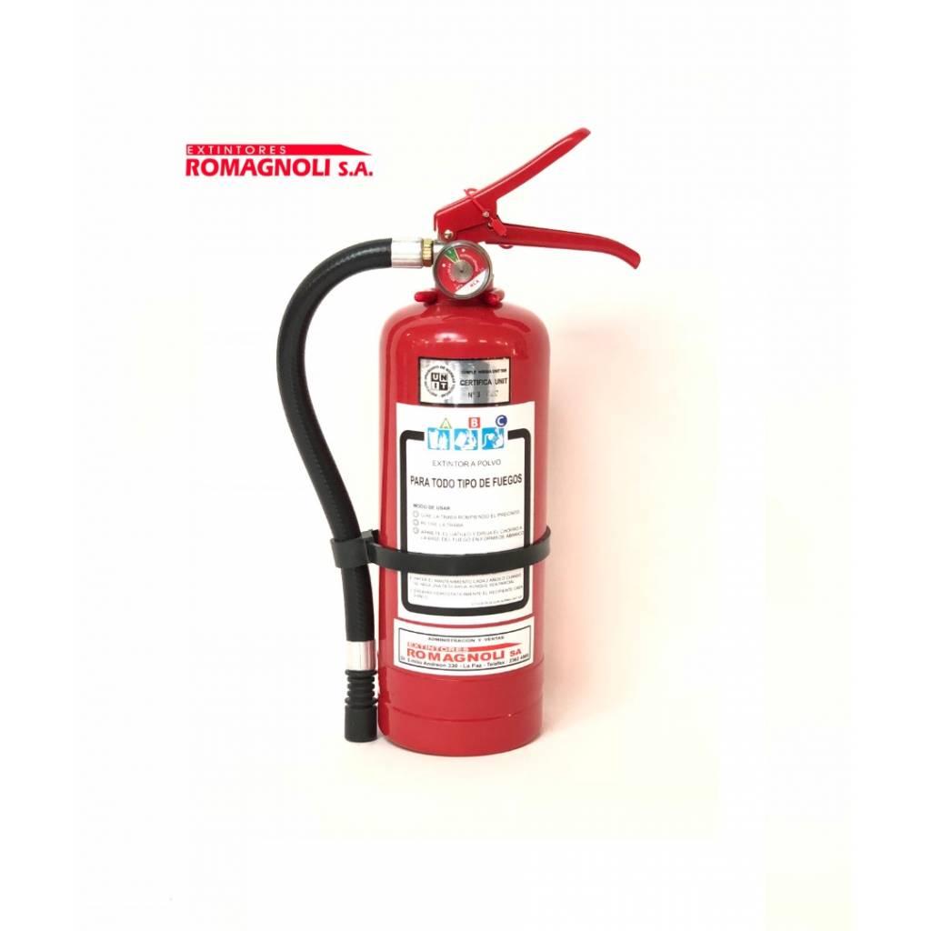 Extintor polvo ABC 2kg con soporte.